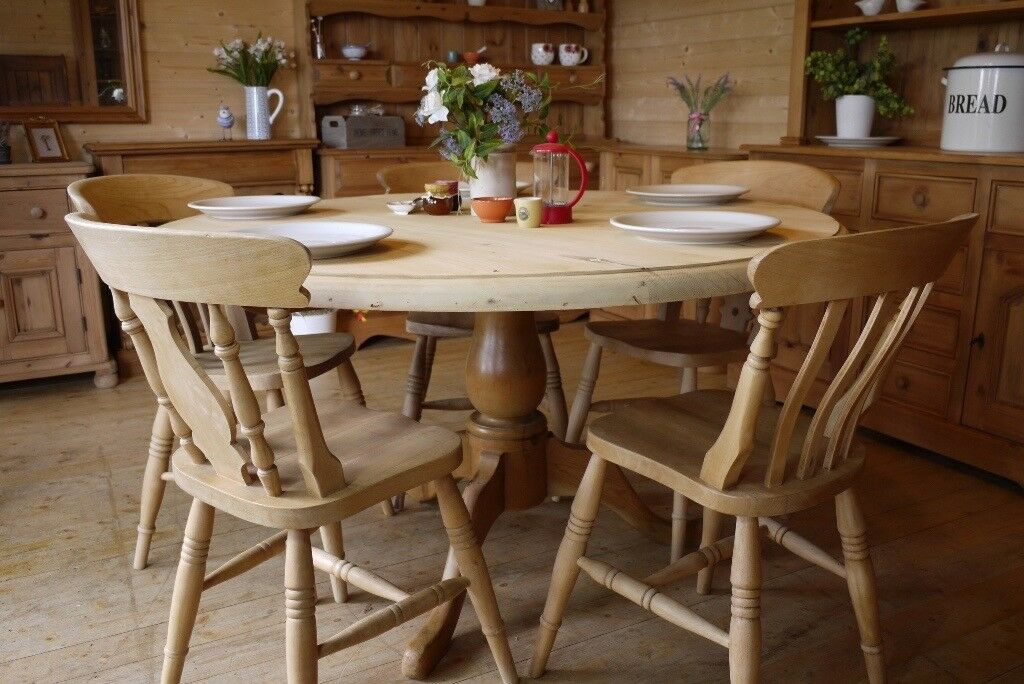 Large Solid Waxed Pine Table And Chairs Farmhouse Pine Round Table