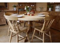 Large solid waxed pine table and chairs Farmhouse pine round table. 4 6 8 Seater