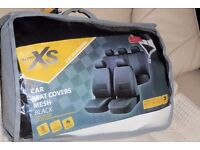AutoXS Full Set Black Mesh Car Seat Covers, NEW & UNUSED, Divided Rear Seat Cover,Headrests,Histon