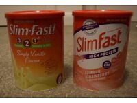 Two Full Unopened Tins of Slim Fast Powder Strawberry/Vanilla