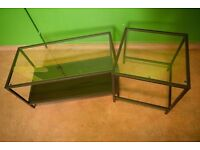 Ikea Vittsjö Coffee Tables - Set of 2 Tables - Black/Brown & Glass - Good Condition