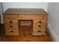 Antique Stripped Pine Architects/Planners Desk