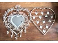 2 Heart Shaped Shabby Chic Look Ornaments one a Mirror.