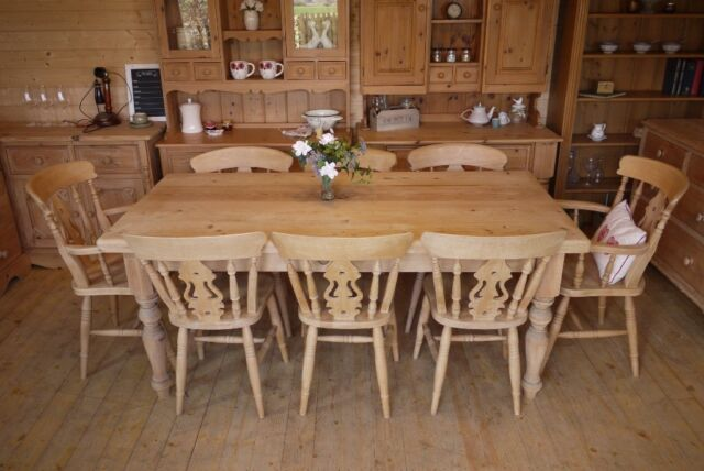 Magnificent 8 Seater Farmhouse Rustic Solid Waxed Pine Large Table And Chairs Inc Carvers In Selby North Yorkshire Gumtree Creativecarmelina Interior Chair Design Creativecarmelinacom