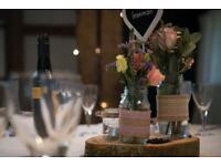 Wedding jam jars table decorations