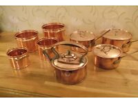 A COLLECTION OF COPPER POTS AND PANS PLUS KETTLE - PRICE NOW REDUCED !!!