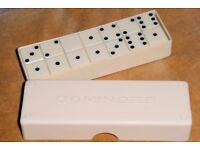 Vintage White Dominoes Complete Set in Original Box / Case, Excellent Condition, Histon
