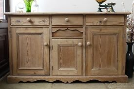 Old Solid waxed pine rustic farmhouse sideboard, dresser, cabinet, freestanding kitchen cupboard