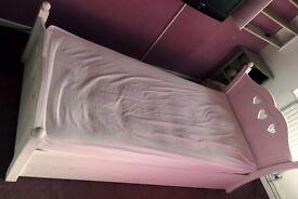 Argos Mia Heart Single Bed Frame + Mattress - Solid White Pine - Good Condition