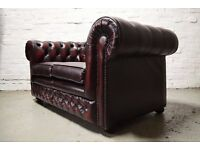 Thomas Lloyd antique red leather chesterfield 2 seater sofa (DELIVERY AVAILABLE)