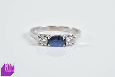 Vintage 18Kt White Gold Double Two Diamond Sapphire Engagement Ring