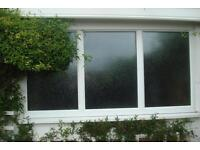 """White UPVC Frosted Glass & Window Frame 74"""" Wide x 40"""" Length"""