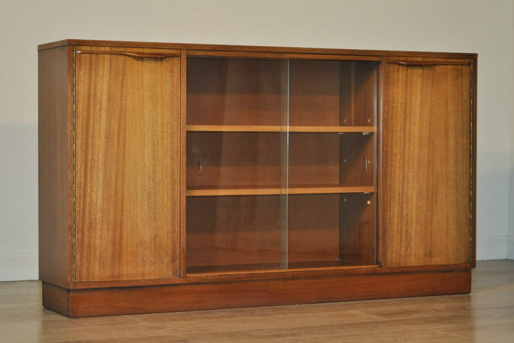 Retro 1960s Long Low Teak Glass Sliding Door Bookcase Cabinet With