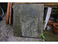 York flagstones for sale. Reclaimed from 18th Century cottage. More than 13 square metres, very flat