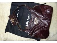 Genuine DKNY Bag AND Matching DKNY Purse in Brown Crocodile effect Faux Leather Match Bag AND Purse