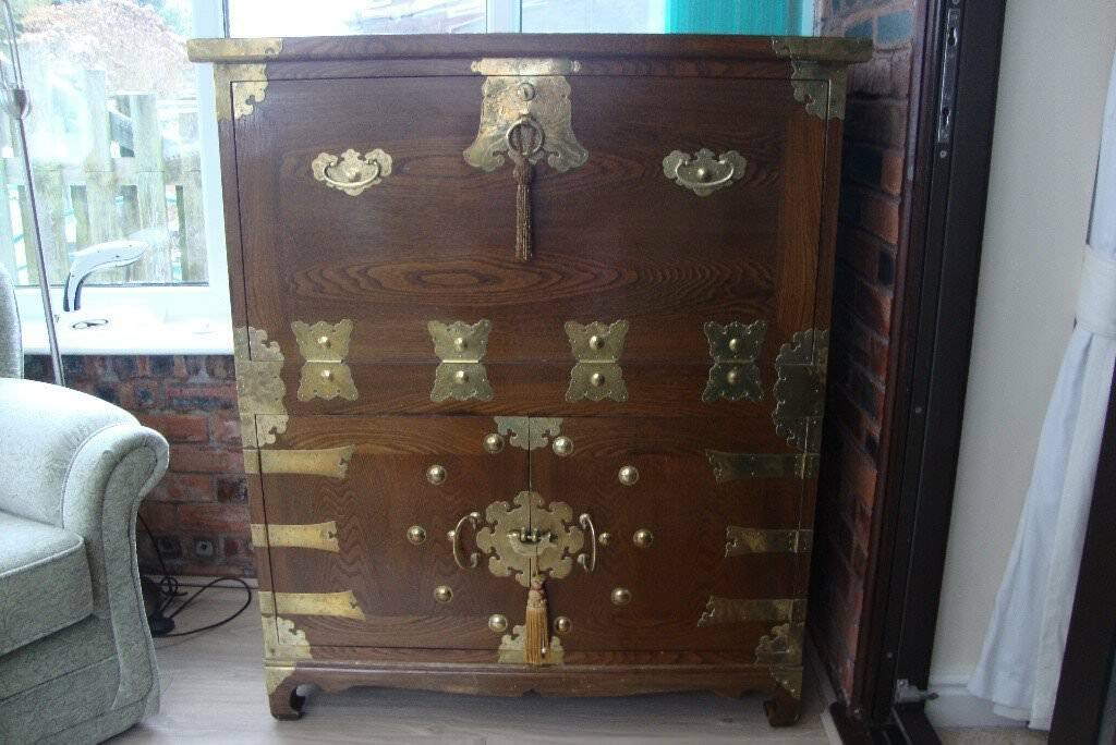 Korean Veneer Antique Style Drop Leaf Cabinet Desk