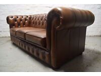 Antique brown/tan Chesterfield 3 seater sofa (DELIVERY AVAILABLE)