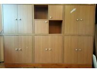 Set of six Beech effect storage units