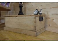 Beautiful rustic antique solid raw pine chest, trunk storage box, toy box