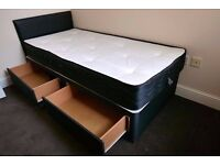 SINGLE DIVAN BED BASE WITH 11 INCH THICK MEMORY FOAM MATTRESS £99