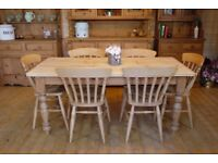 Farmhouse rustic solid waxed pine large 6 seater table and six chairs