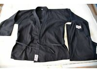FOR FREE Karate Kyokushin Suit Black for Adult 180-190cm White Belt included No club logo