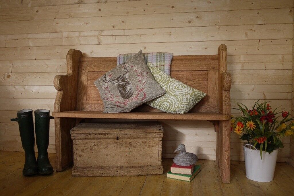 Antique Rustic Solid waxed pine church pew, bench