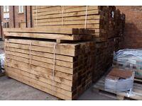 Chestnut Hardwood Garden Sleepers | Untreated | 2400 x 200 x 100