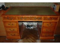 Antique style desk and leather chair