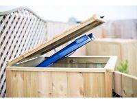 Timber lid for single wheelie bin store