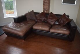 Corner sofa / chaise in two tone leather - Carlisle - can deliver