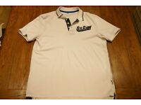Mens G-Star Raw Polo Shirt XL (White/Navy Blue)