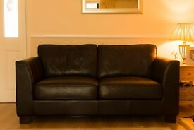 Saddle Brown Two Seater Leather Sofa with Removable Back and Seat Cushions