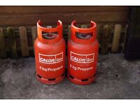 2x 6kg Propane Calor Gas EMPTY gas bottles cylinders for barbecue or caravan