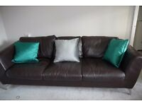 Heals Large Leather Sofa and Chair for sale - Oxfordshire