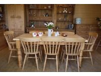 Farmhouse Rustic 8 seater Large table Solid Pine Table and 8 Chairs Inc Carvers