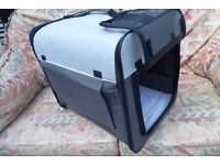 NEW FOLDING Pet carrier for Small Dog,18 ins long,Flaps On All Sides,Mat with Washable Cover, Histon