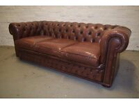Antique brown chesterfield sofa with club chair (DELIVERY AVAILABLE)