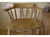 Solid wooden waxed pine/beech smokers bow Captains chair hall seat office chair.