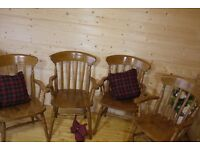 Set of 4 farmhouse solid oak carver chairs spindle back grandad fireside chairs