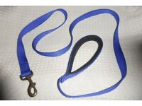 Unused Strong Blue Dog Lead with Comfortable Handle, 1 inch wide and 71 inches long, Histon