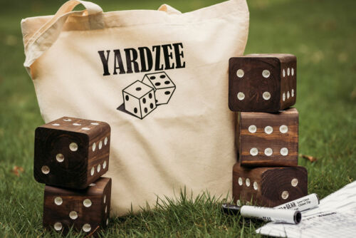 """Yardzee Big Dice Game with Laminated Scorecard and Marker - 3.5"""" Set - Any color"""