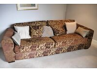 Lovely Contemporary Burgundy and Gold Brocade Sofa