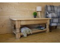 Farmhouse rustic solid raw pine wood large coffee table with shelf. media unit