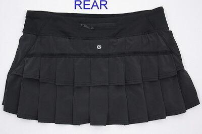 Womens Lululemon Pace Setter Ruffle Skirt Skort Run Tennis BLACK 10 Reg  NU COND