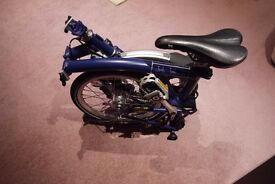 Brompton M3L Blue new condition Hardly been use. 3 speeds