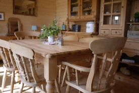 Solid farmhouse waxed pine wood 6 seater table 4 fiddleback Chairs 2 carvers