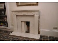 White fireplace with Marble Hearth & Back Panel