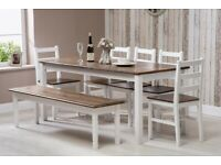 BNIB Solid pine dining table and chairs in white/dark brown