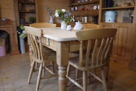 Farmhouse rustic solid waxed pine table and 4 chairs 4 Seater table with drawer